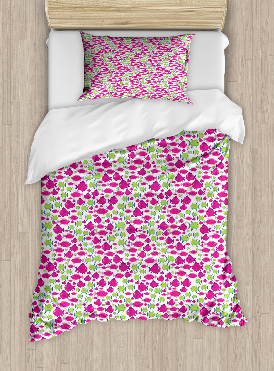 Fish Pattern Duvet Cover Set Twin Queen King Sizes with Pillow Shams Ambesonne