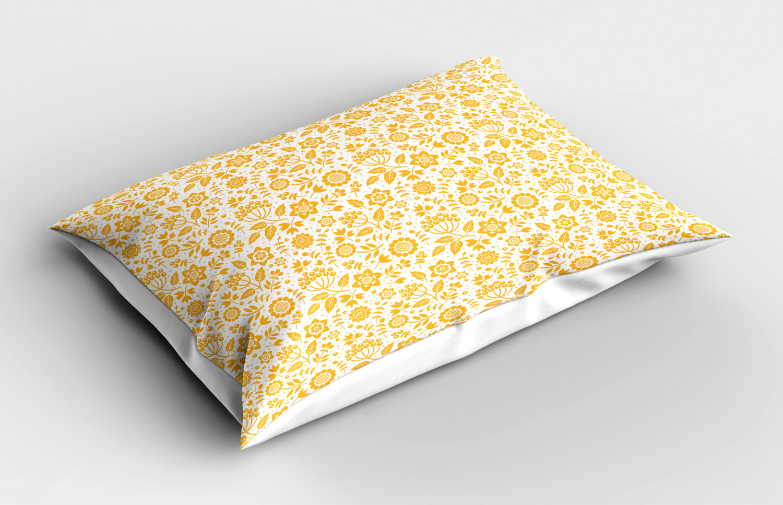 Yellow Flower Pillow Sham Decorative Pillowcase 3 Sizes for ...