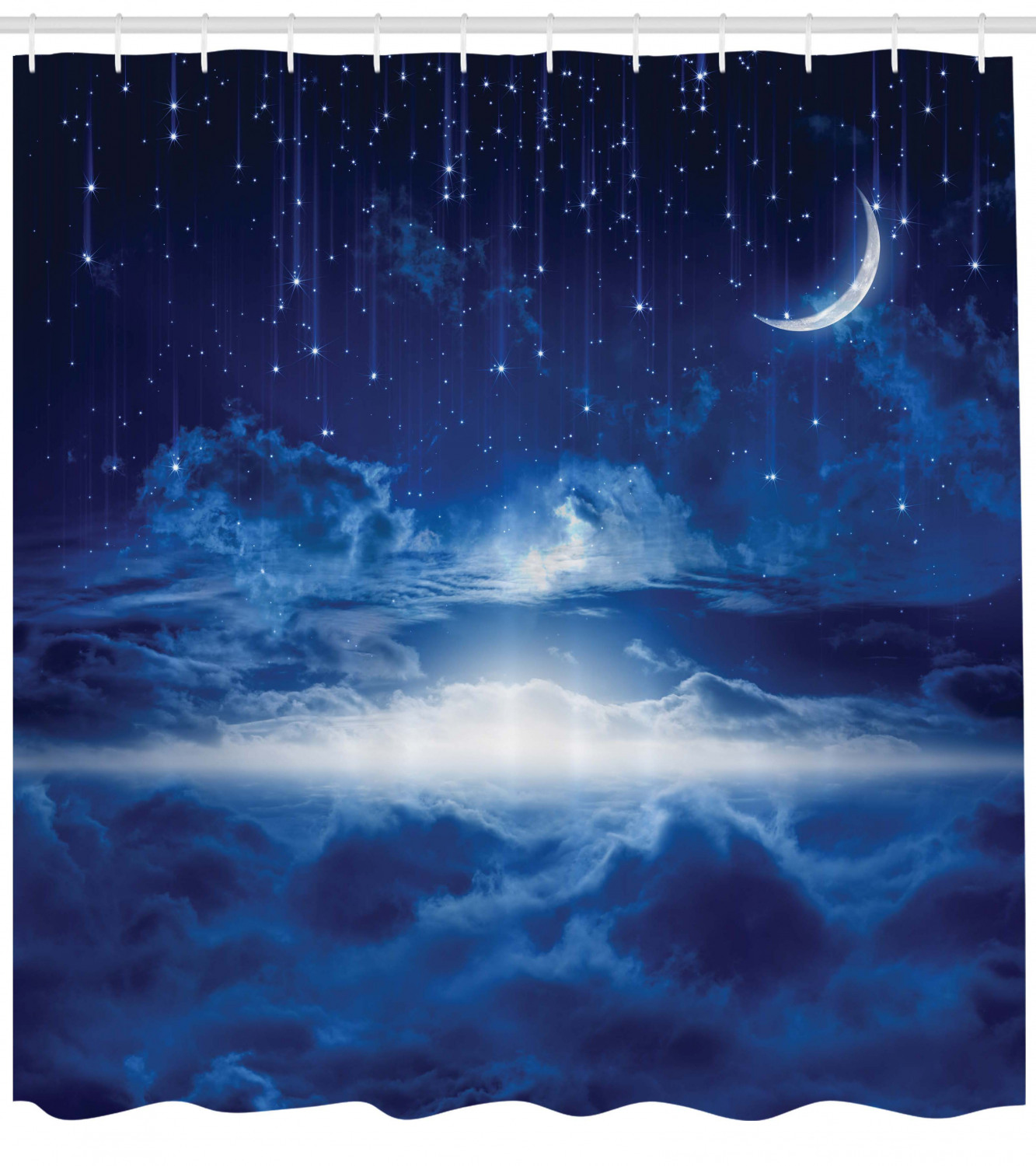 Details about  /Blue White Shower Curtain Night Sky Moon Stars Print for Bathroom