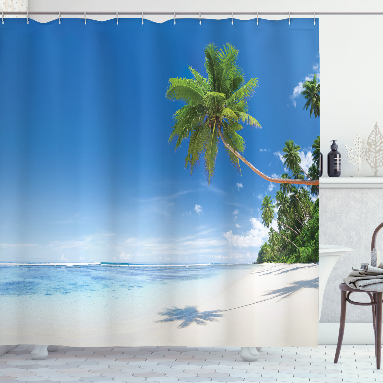 Details about  /Tropical Shower Curtain Ocean Summer Palms Print for Bathroom
