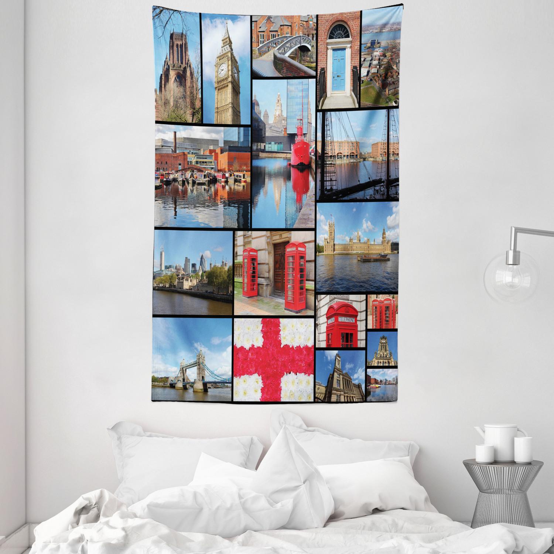 England Wandbehang Stadt-Marksteine ??mit Blumen Tagesdecke Druck