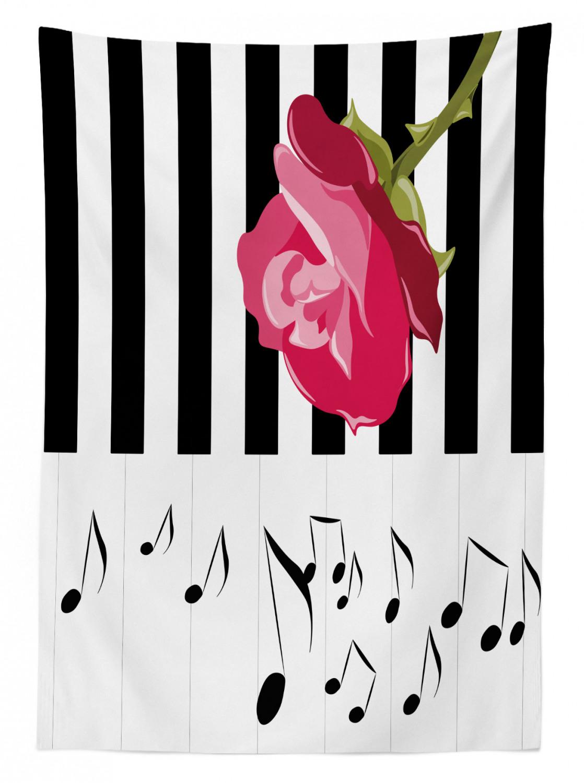 Rote Rose auf dem Klavier Klare Farben Modern Tischdecke