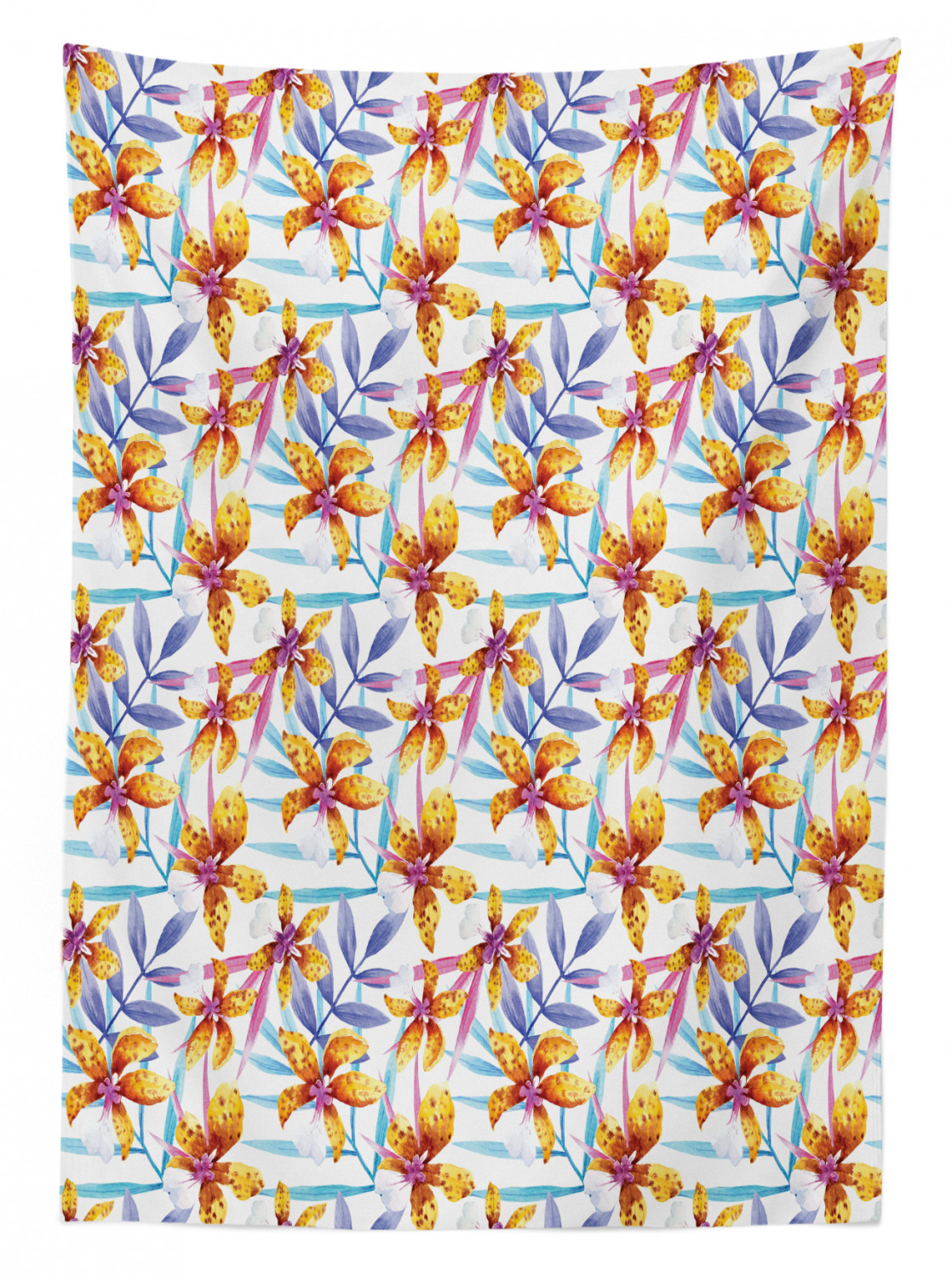 Flowers Theme Outdoor Picnic Tablecloth in 3 Sizes Washable Waterproof