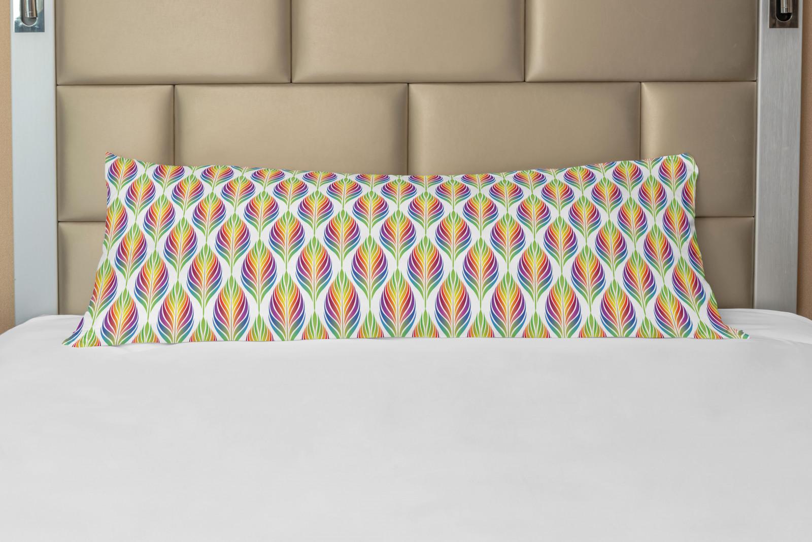 Körperkissenbezug Bunt Regenbogen-Blatt-Motive Kunst