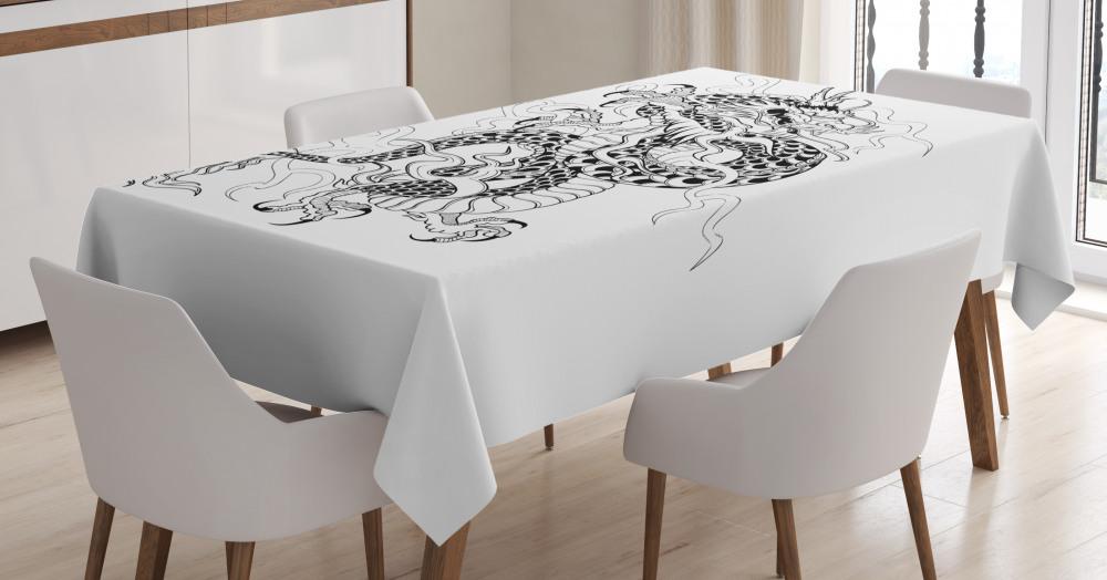 Table runner brown Satin Drachen Phönix Tischläufer Damast Tischband Tischdeko