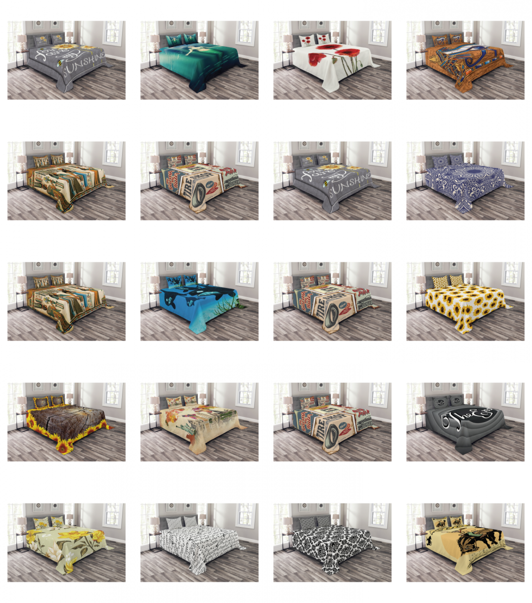Bed Coverlet Set Quilted with by Ambesonne Pillow Shams Deco