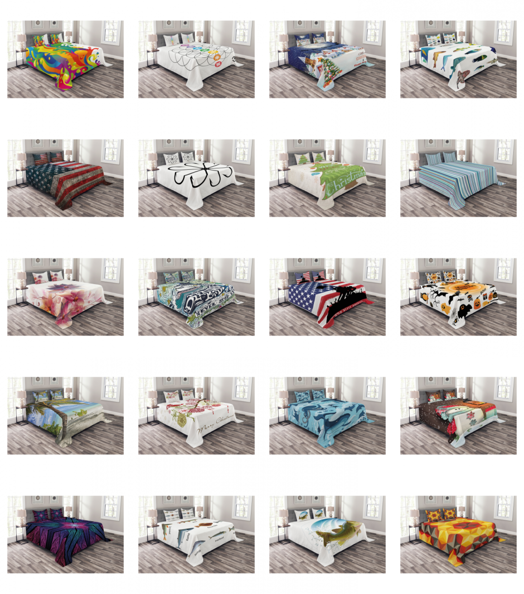 Ambesonne Bedspread with Pillow Shams for Bed Coverlet Set Q
