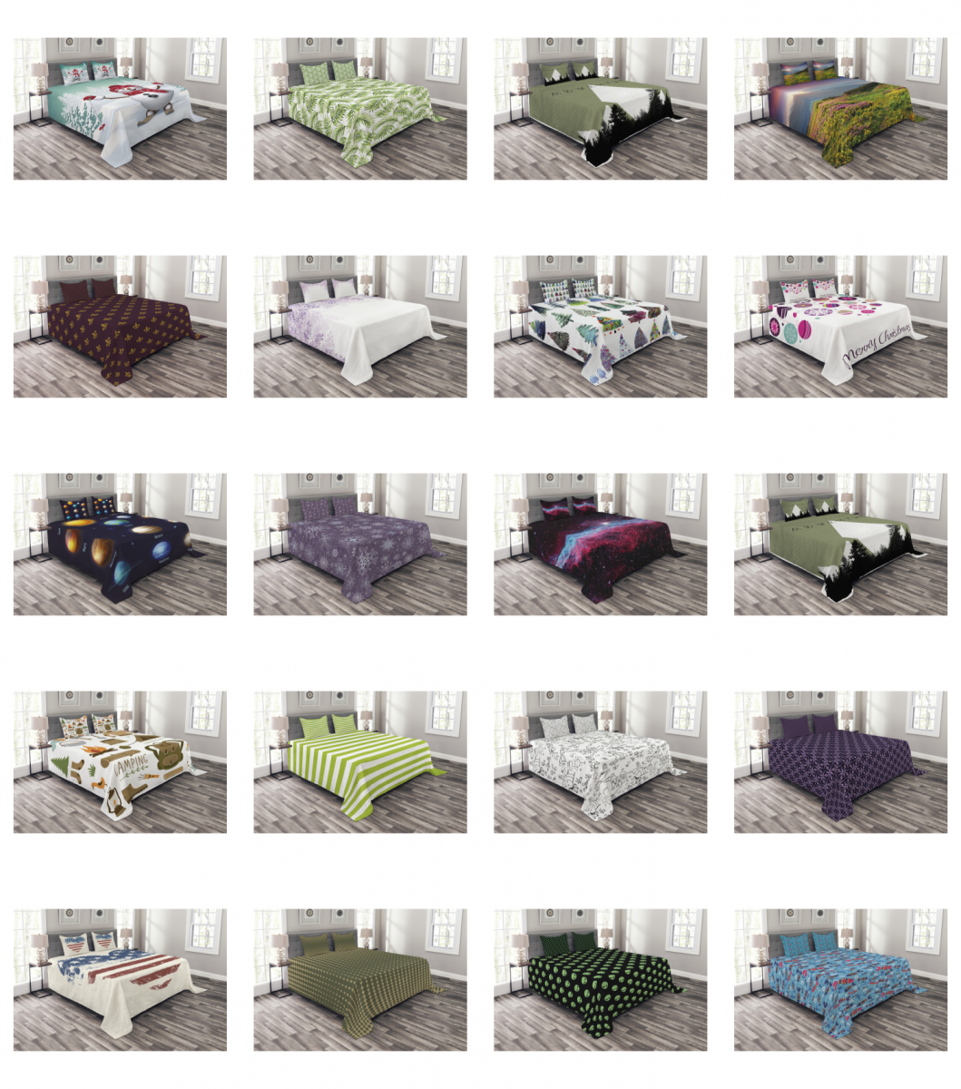 Ambesonne Bedspread with Pillow Shams Bed Coverlet Set Quilt
