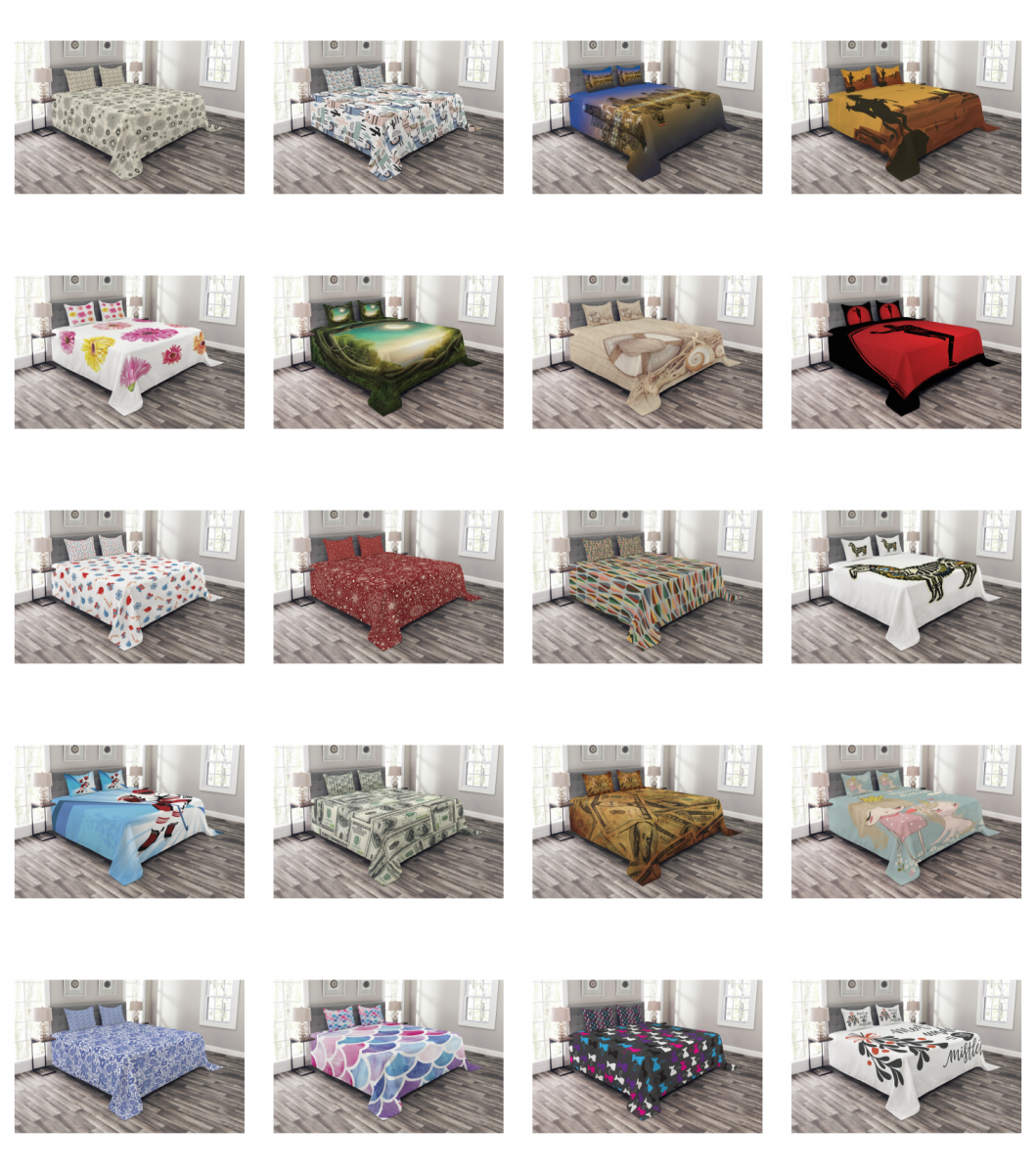 Ambesonne Bed Coverlet Set Quilted Decorative Bedspread with