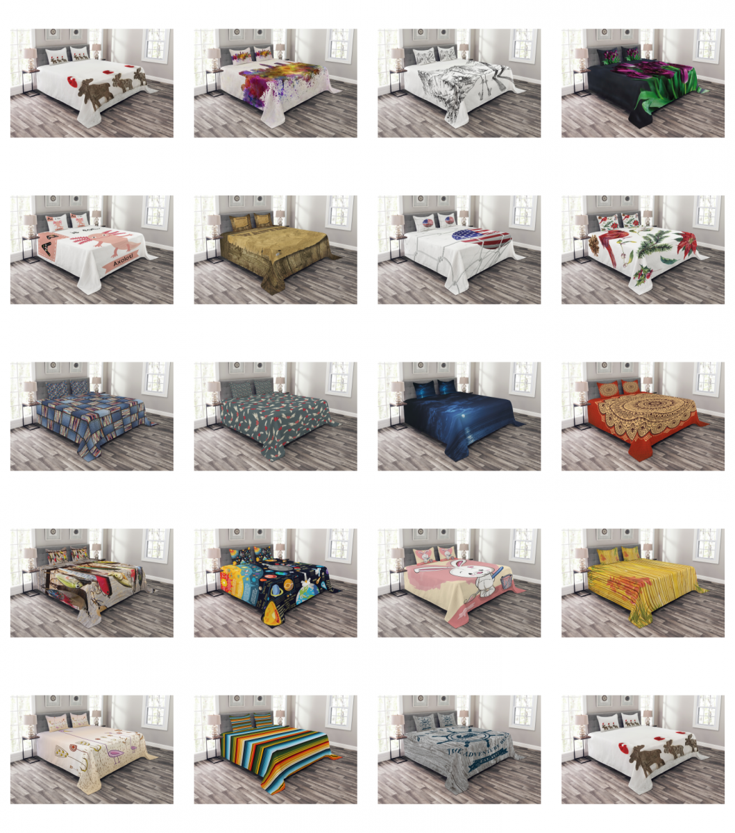 Ambesonne Bedspread 3 Sizes Coverlet Set with 2 Pillow Shams