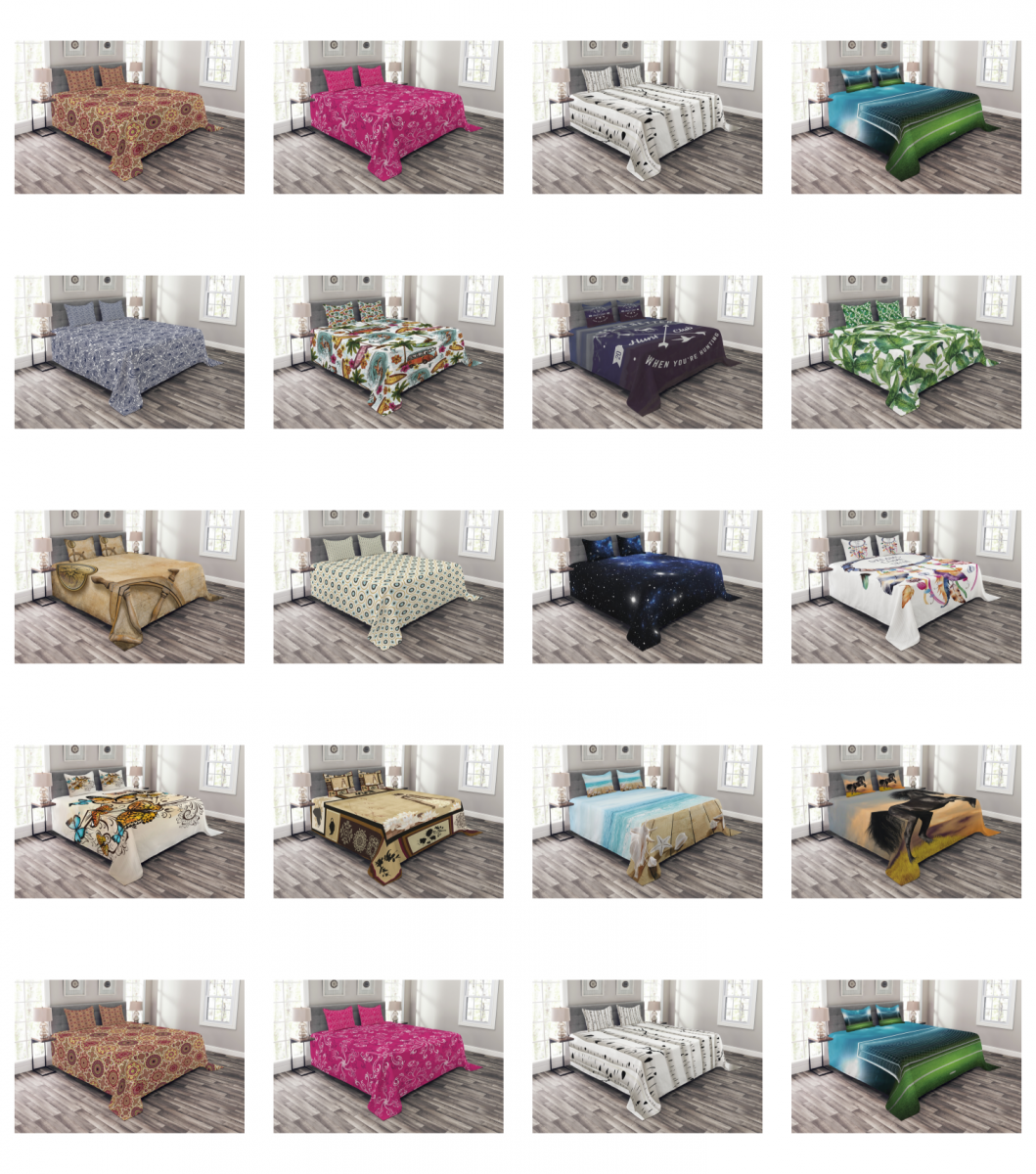 Ambesonne Coverlet Set Quilted Decorative Bedspread with Pil
