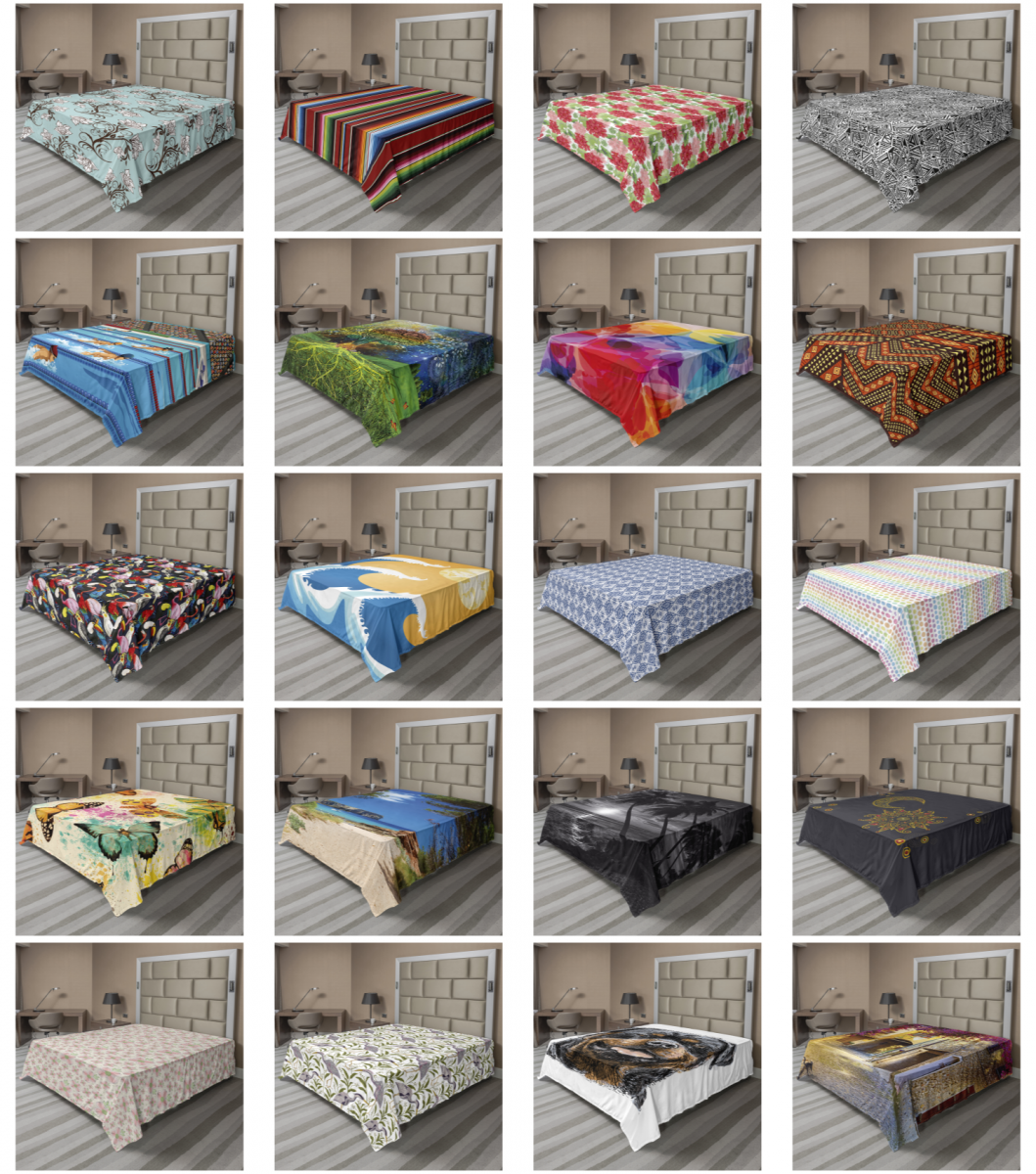 Ambesonne Flat Sheet Soft Comfortable Top Sheet Decorative P
