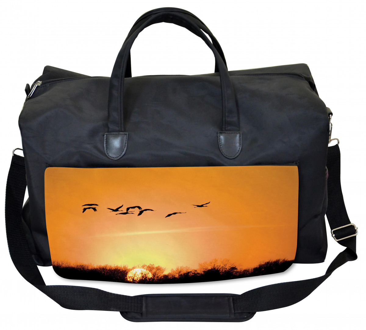 Ambesonne Blue Gym Bag Seagulls Flying Ombre Sky Large Weekender Carry-on