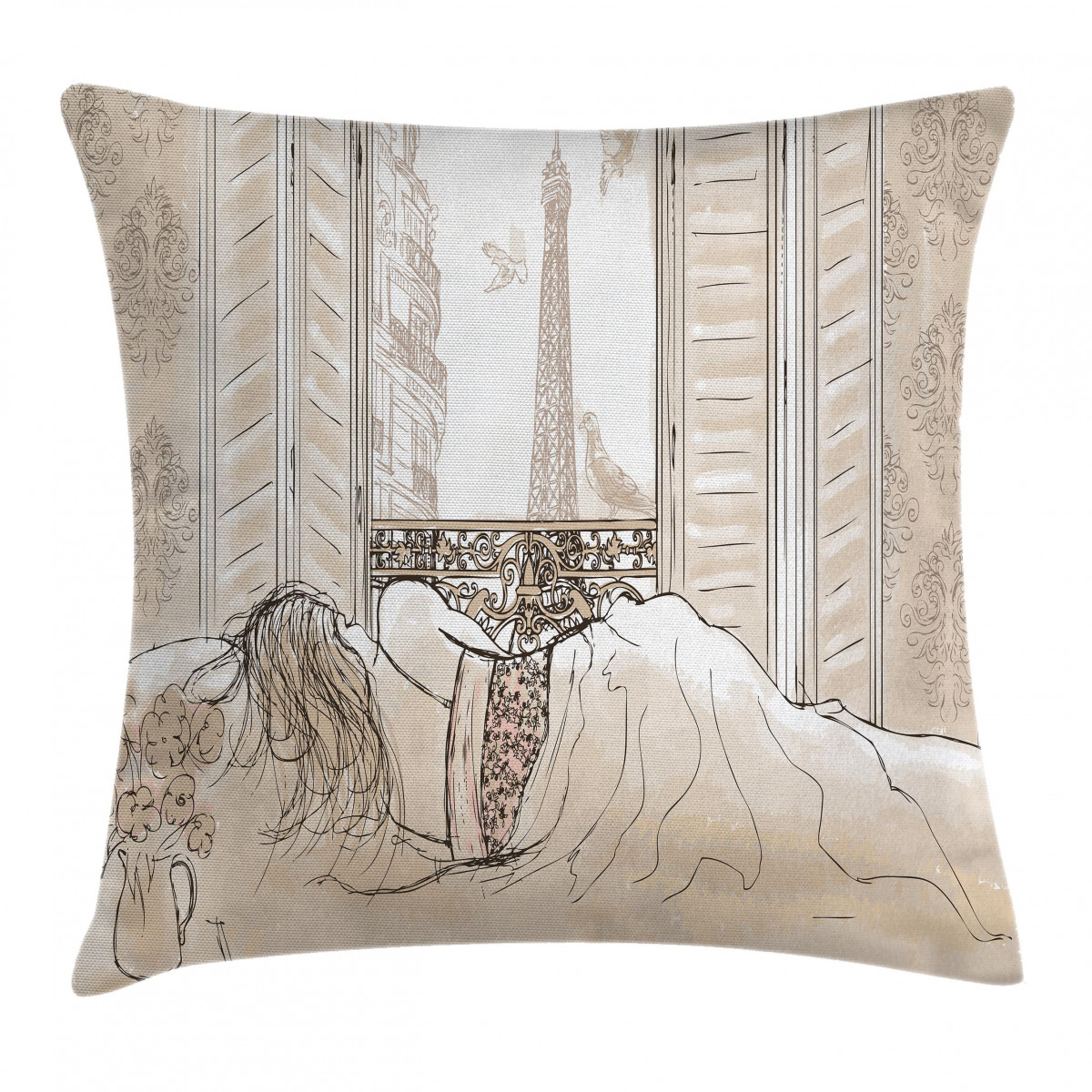 African Throw Pillow Case Sketchy Ethnic Dancer Square Cushion Cover 16 Inches