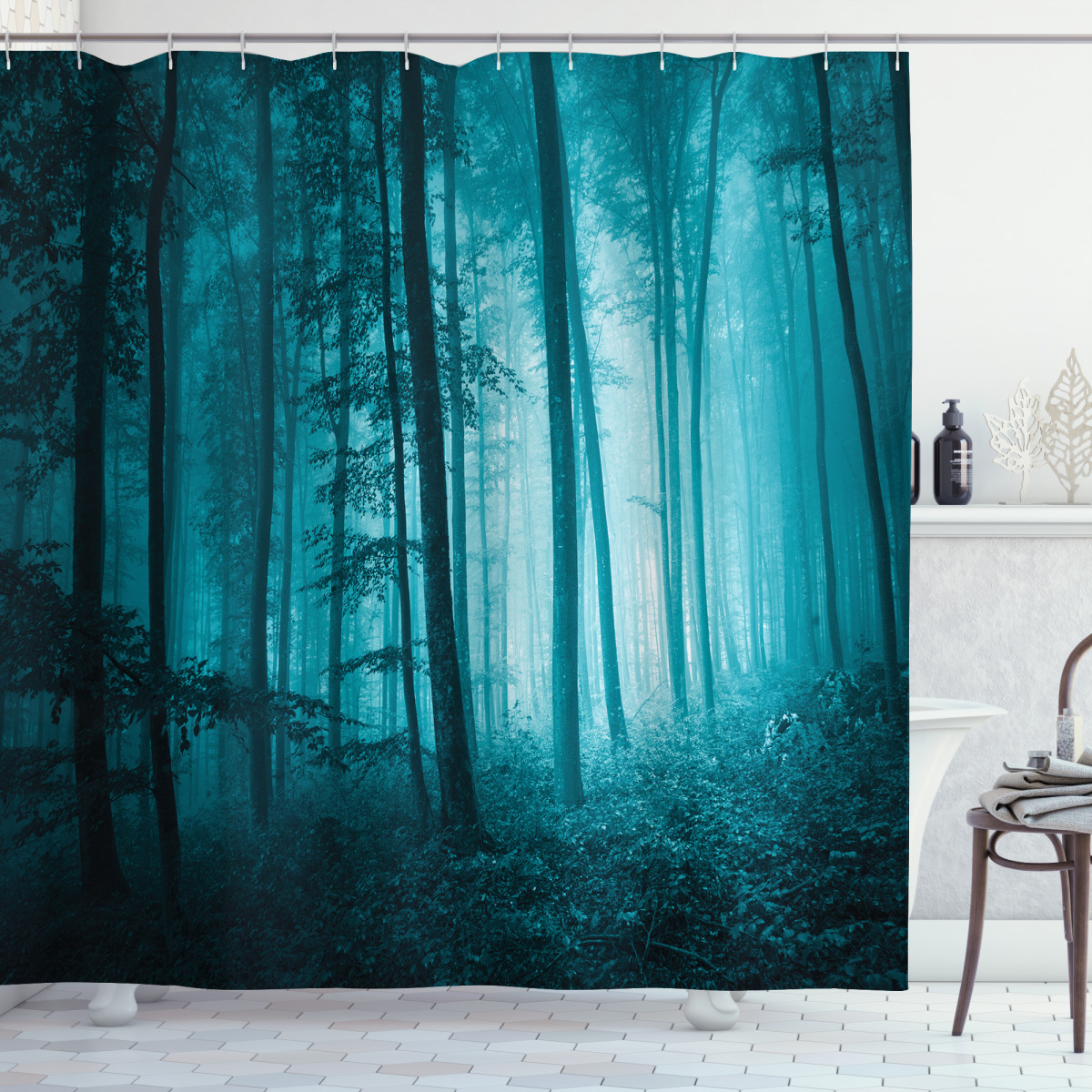 Foggy Dark Country Forest Shower Curtain