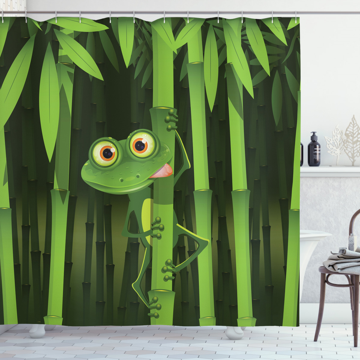 Jungle Trees Fun Frog Shower Curtain