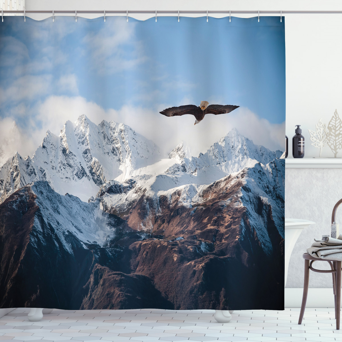 Asian Nature Mountain Colorful Lights Nepal Everest Photo Shower Curtain Set
