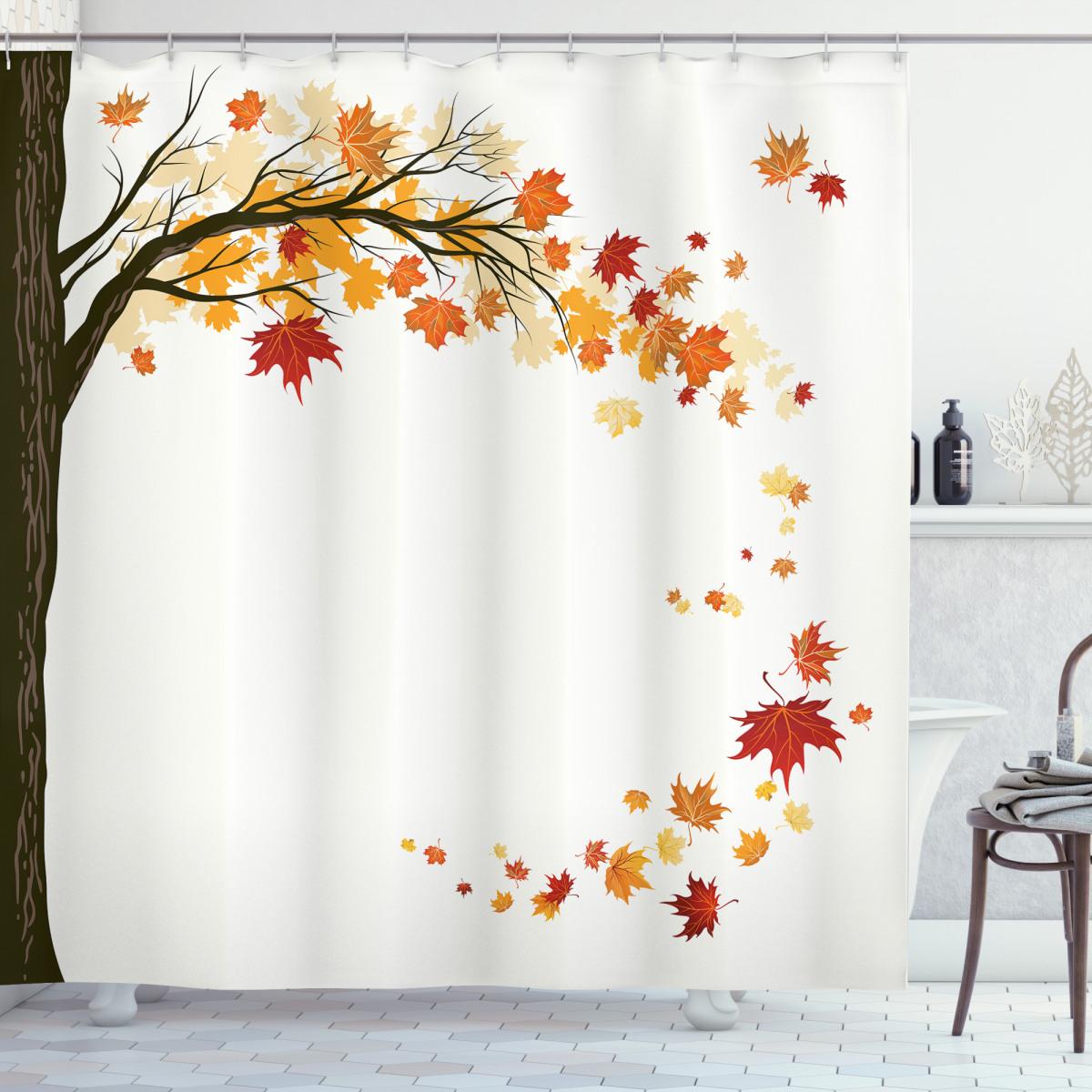 Flying Maple Leaf Seasons Shower Curtain
