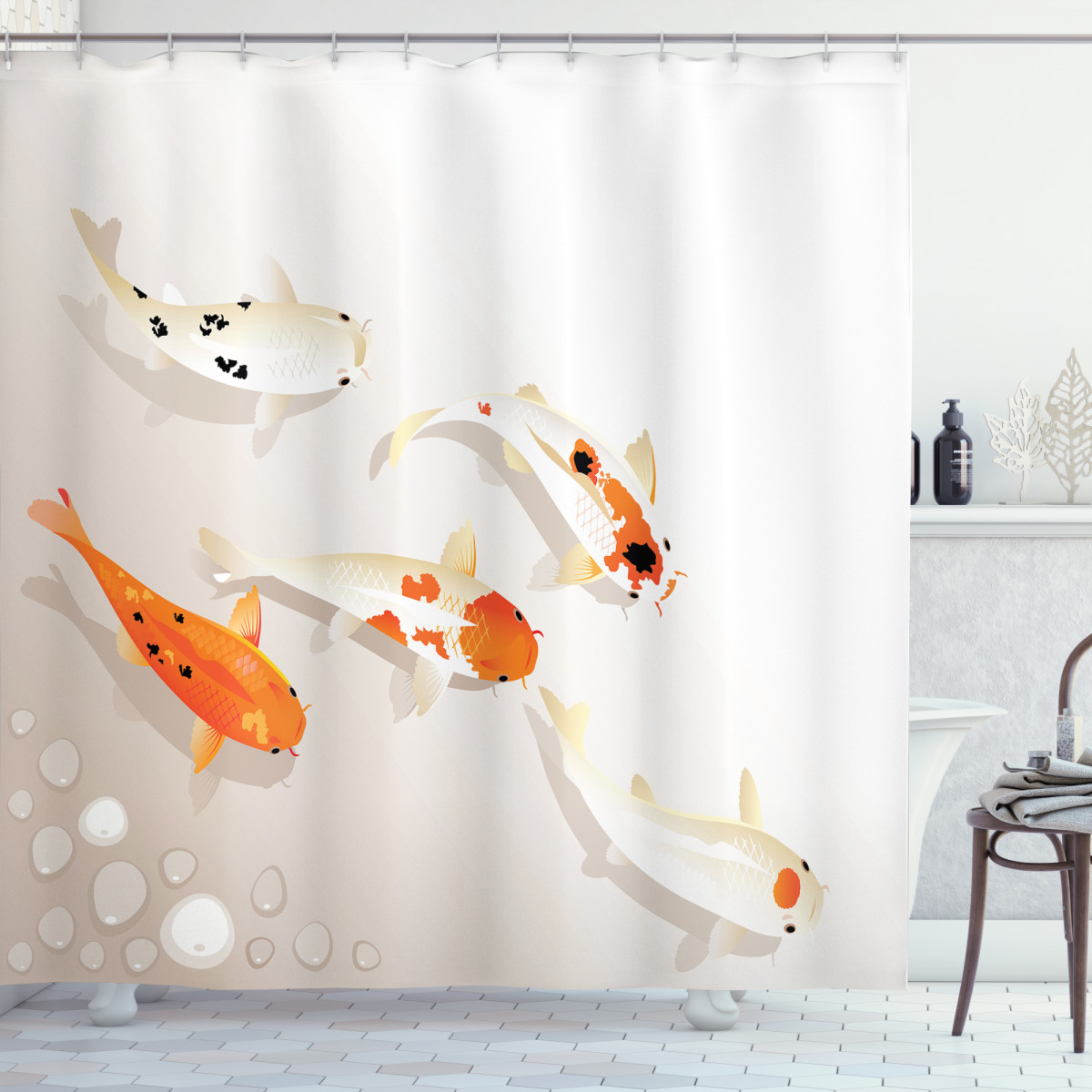 Traditional Spotted Koi Fish Shower Curtain