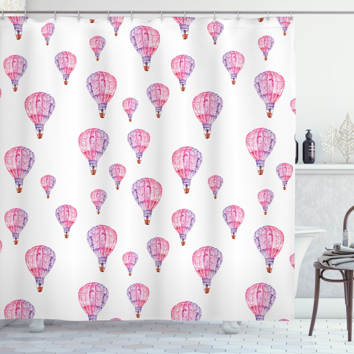 Polyester Fabric Spring Colored Flowers Shower Curtain Liner Bathroom Mat Set