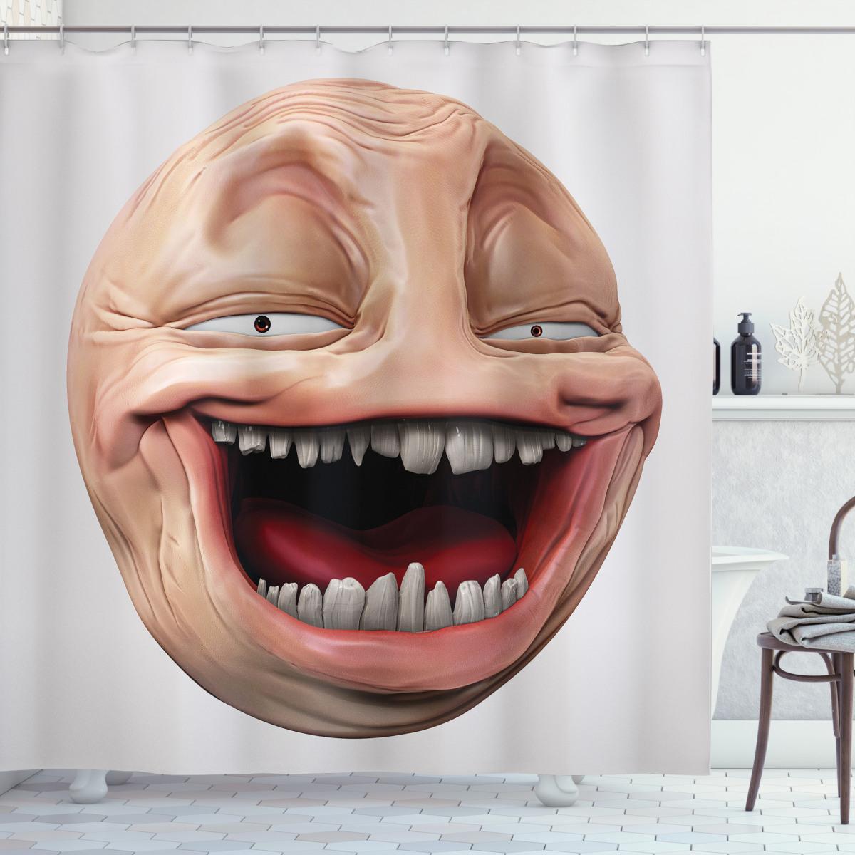 Poker Face Guy Meme Shower Curtain
