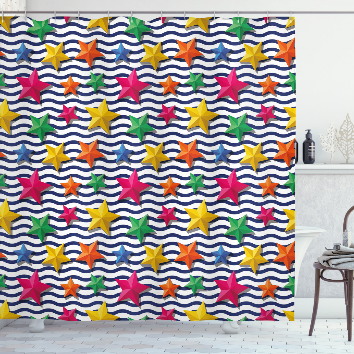 3d Stars Wavy Stripes Shower Curtain