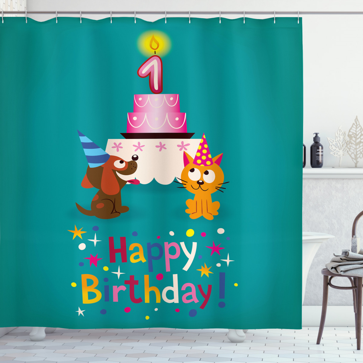 Birthday Party Cat Dog Shower Curtain