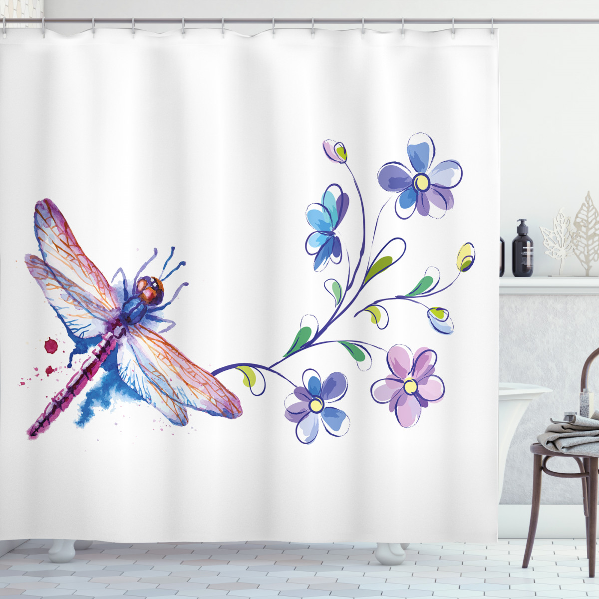 Ivy Flowers Dragonflies Shower Curtain