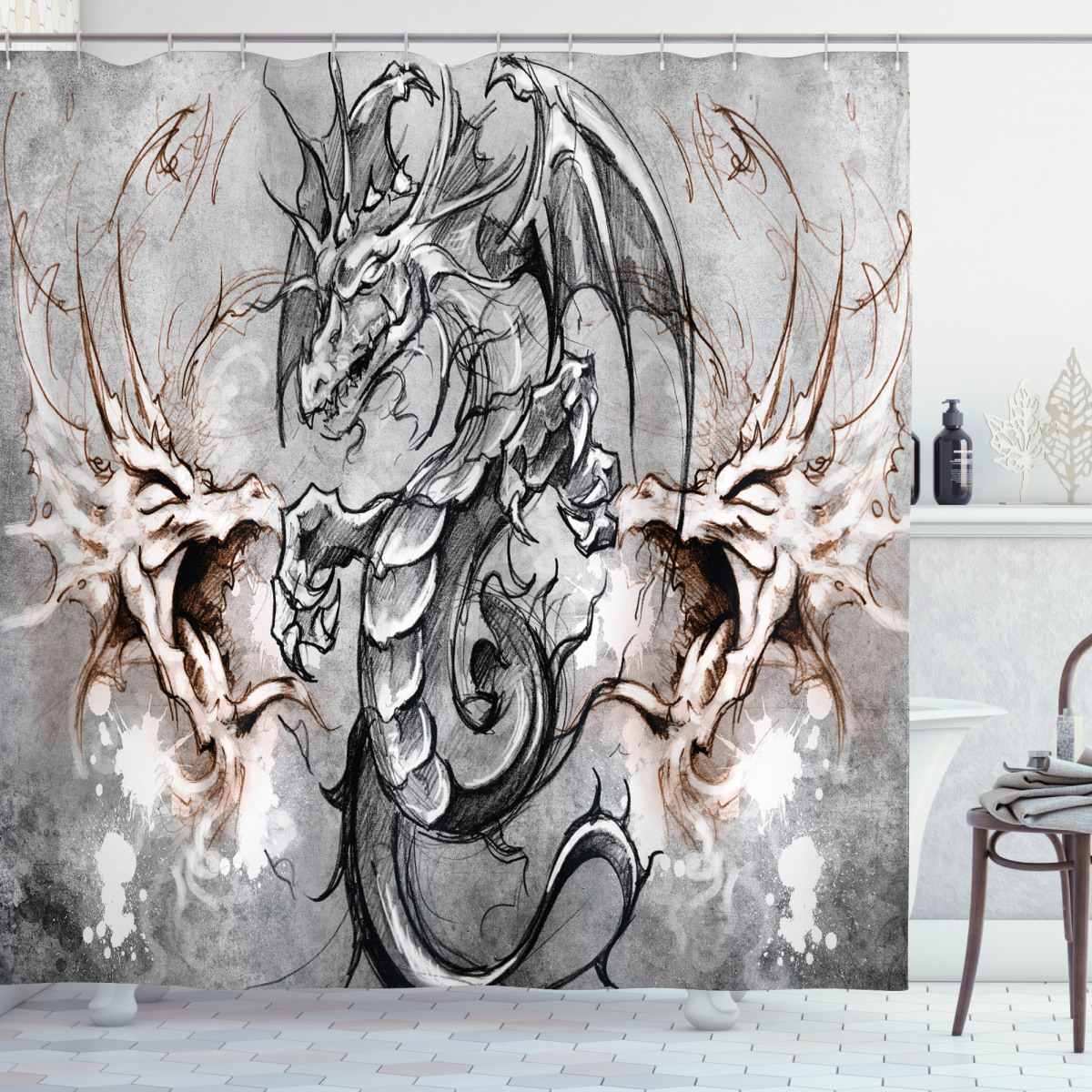 Dragon Shower Curtain Scary Creature Sketch Print for Bathroom