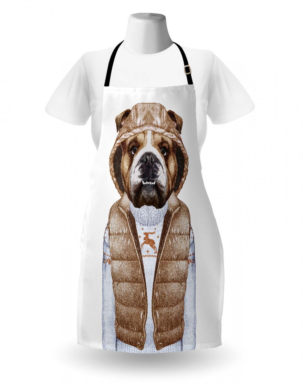 English-Bulldog-Apron-Unisex-Kitchen-Bib-with-Adjustable-Neck-for-Cooking-Baking 縮圖 137