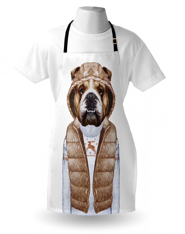 English-Bulldog-Apron-Unisex-Kitchen-Bib-with-Adjustable-Neck-for-Cooking-Baking 縮圖 138