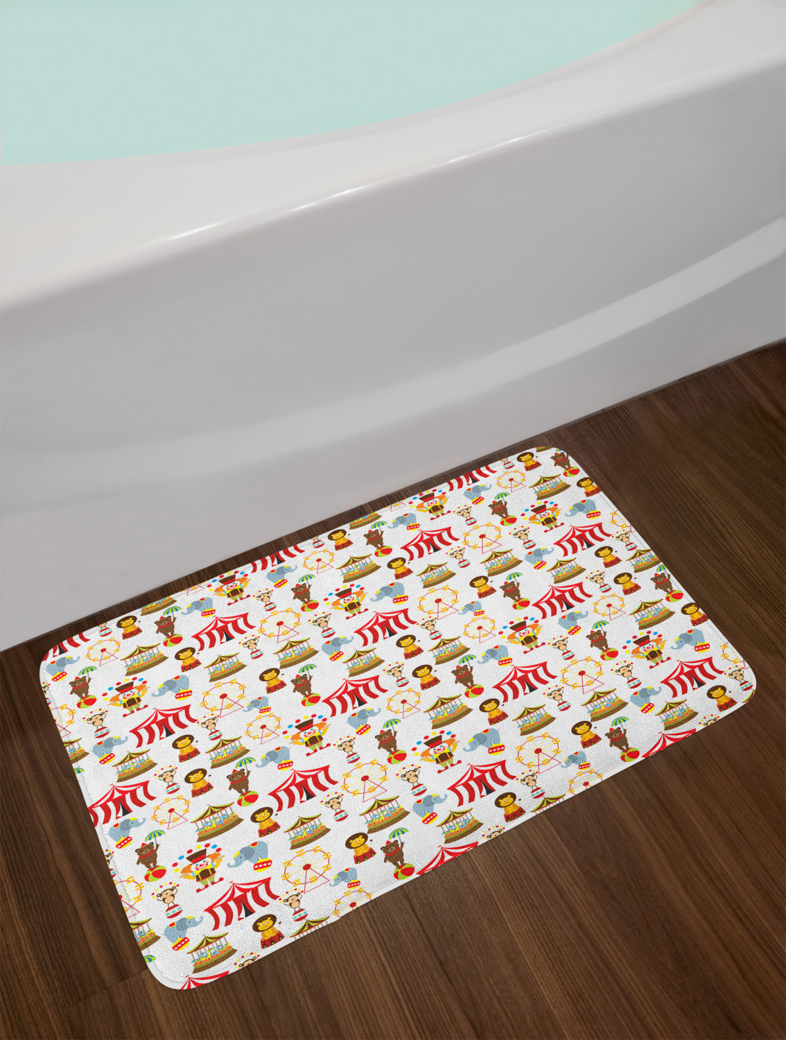 Colorful Circus Bath Mat Bathroom Home Decor Plush Non