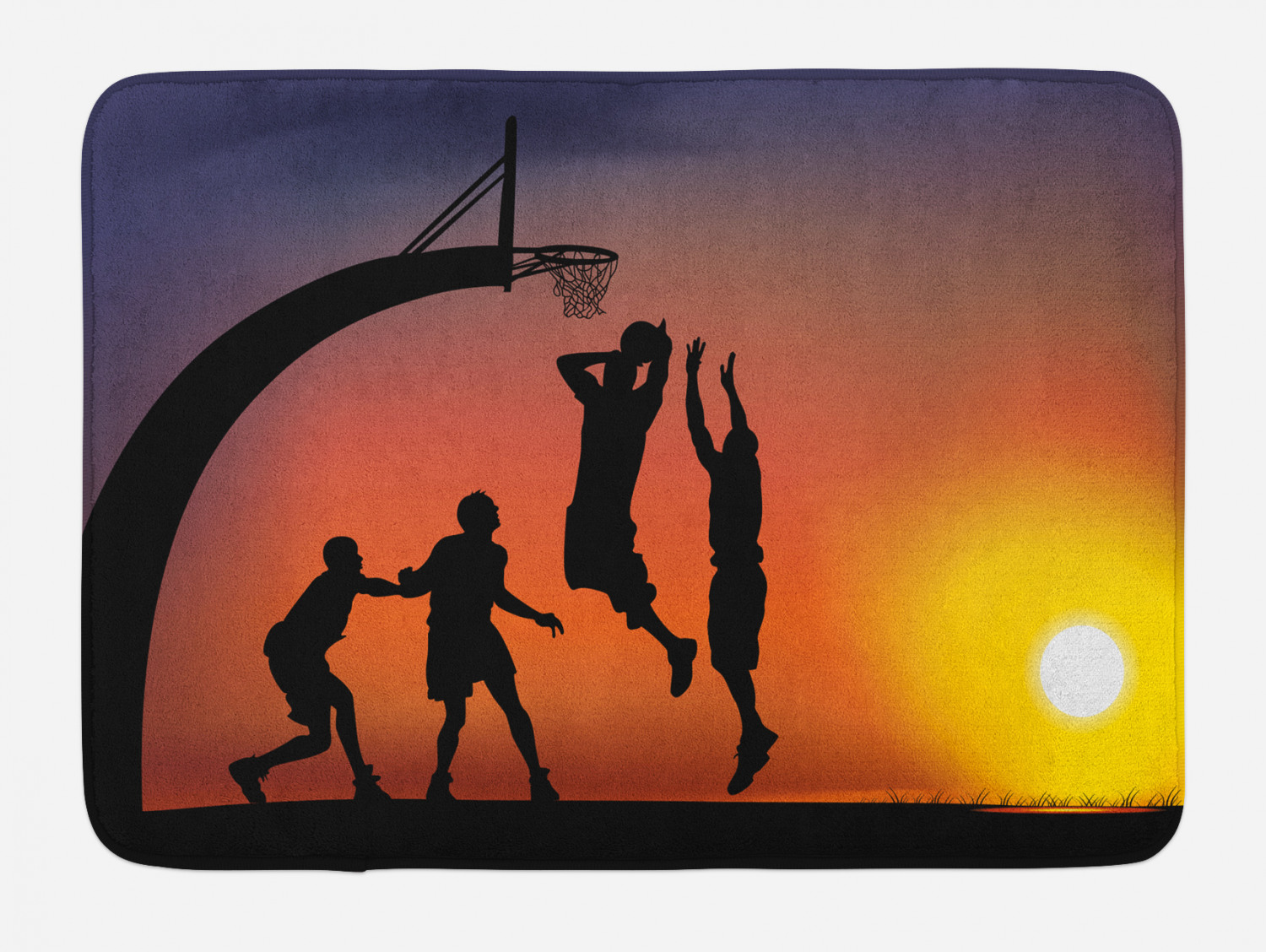 Teen Room Bath Mat Boys Play Basketball Non-Slip Plush Mat,