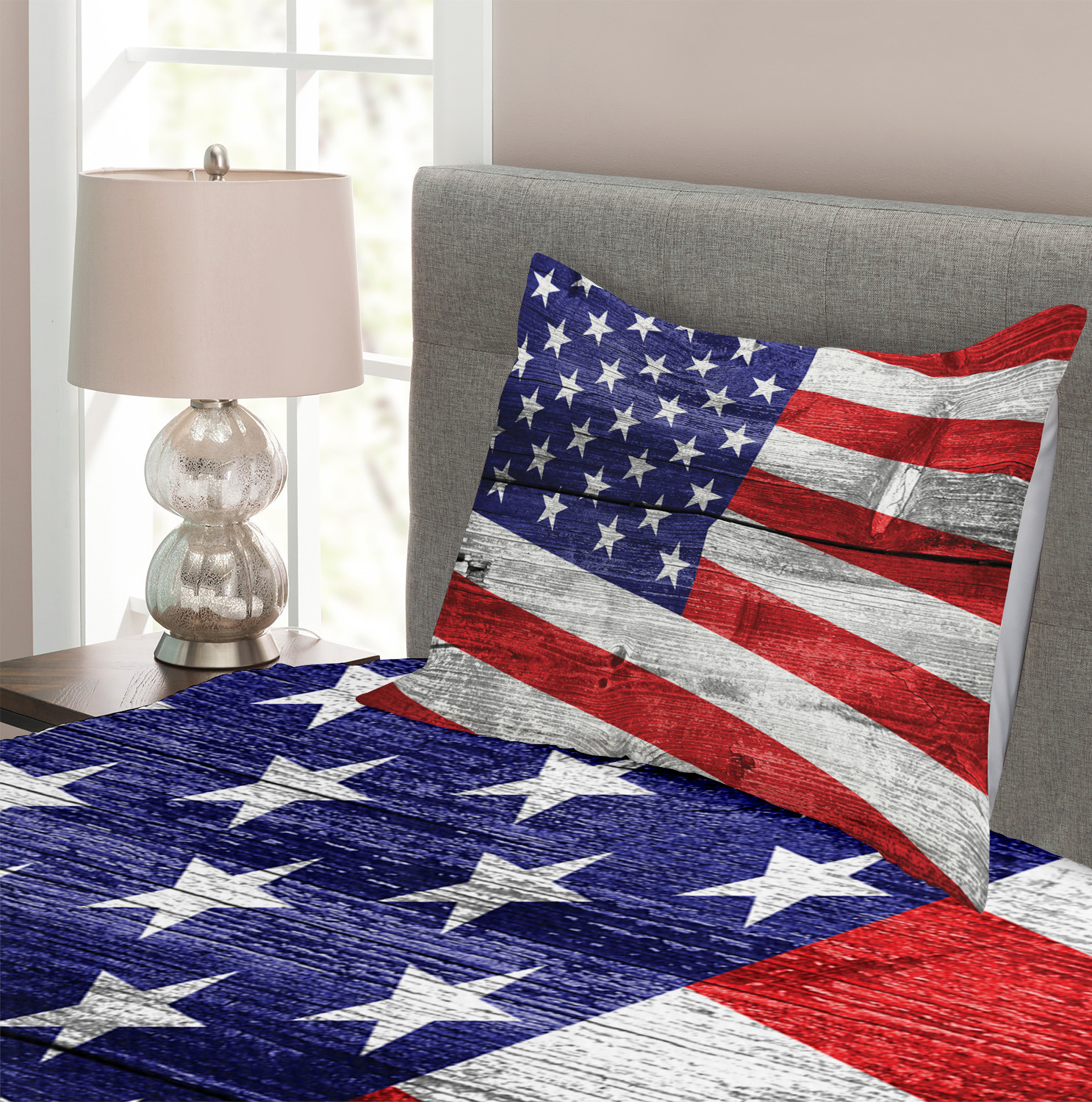 Patriotic Quilted Bedspread /& Pillow Shams Set America Patriotic Day Print