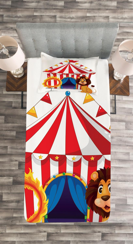 Zirkus Tagesdecke und und und Kissenbezüge Set Löwe und ein Feuerring Druck 43c32d