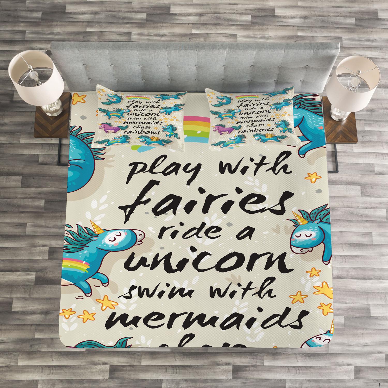 Unicorn Quilted Bedspread & Pillow Shams Set, Rainbow Stars Kids Print