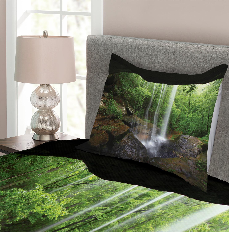 Landscape Quilted Bedspread /& Pillow Shams Set Twin Waterfalls Hawai Print