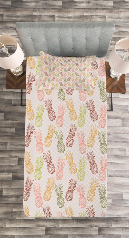 Ananas Tagesdecke und Kissenbezüge Kissenbezüge Kissenbezüge Set Exotische tropische Skizze Druck ec8829