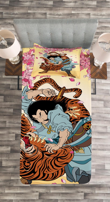 Asia Samurai Mask Koi Print Japanese Quilted Bedspread /& Pillow Shams Set