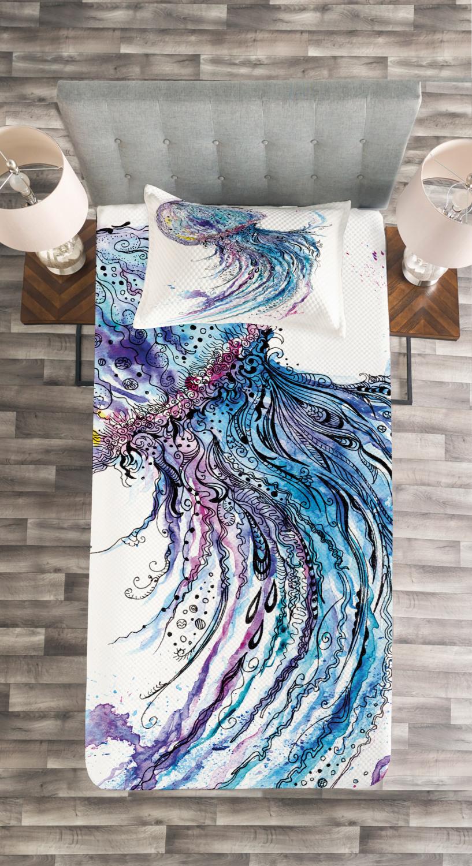 Jellyfish Quilted Bedspread Amp Pillow Shams Set Aqua