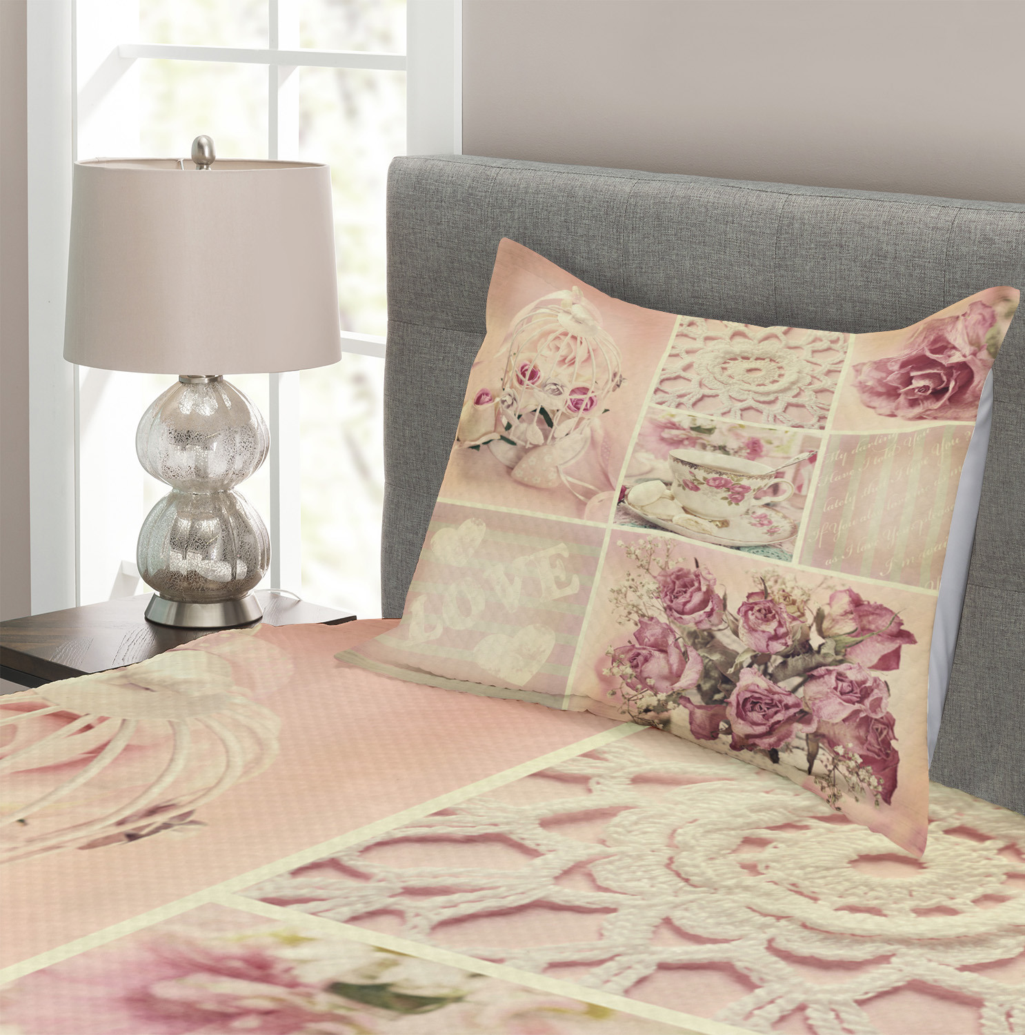Mothers-Day-Quilted-Bedspread-amp-Pillow-Shams-Set-Vintage-Lace-Cups-Print thumbnail 3