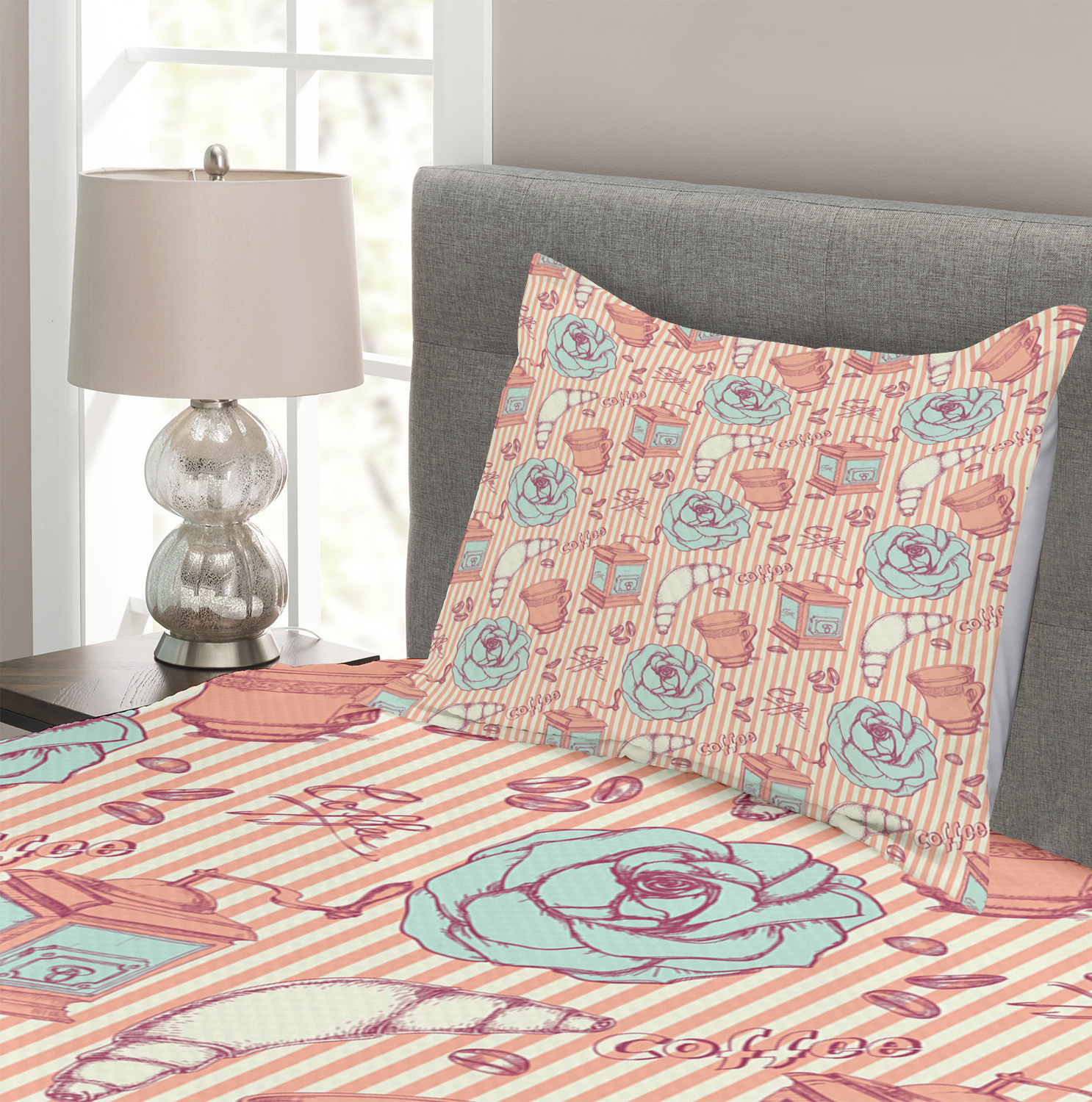 Shabby-Chic-Quilted-Bedspread-amp-Pillow-Shams-Set-Roses-Coffee-House-Print thumbnail 3