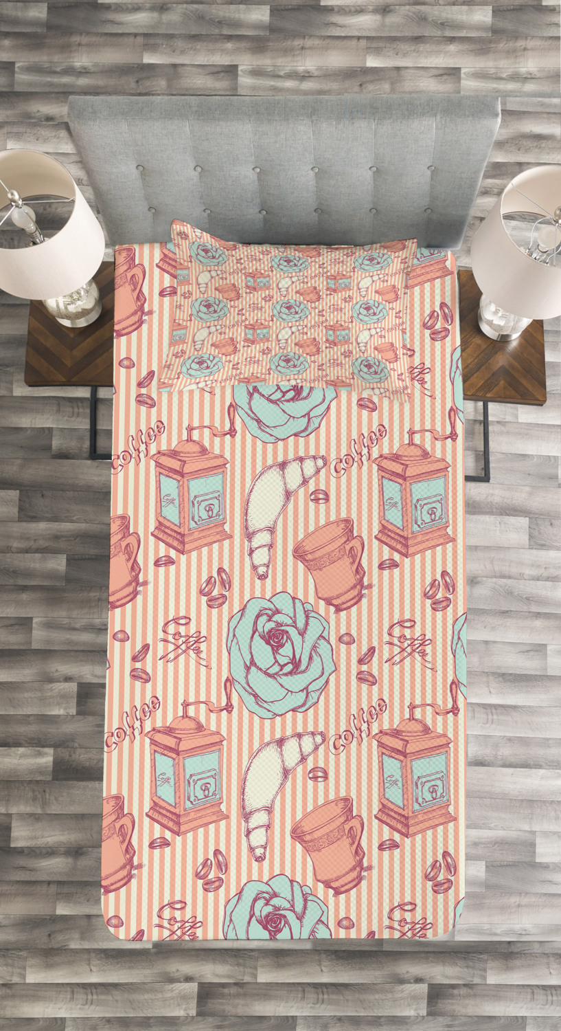 Shabby-Chic-Quilted-Bedspread-amp-Pillow-Shams-Set-Roses-Coffee-House-Print thumbnail 4