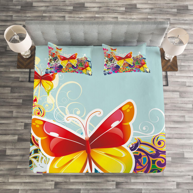 Farbeful Quilted Bedspread & Pillow Shams Set, Butterflies Flowers Print