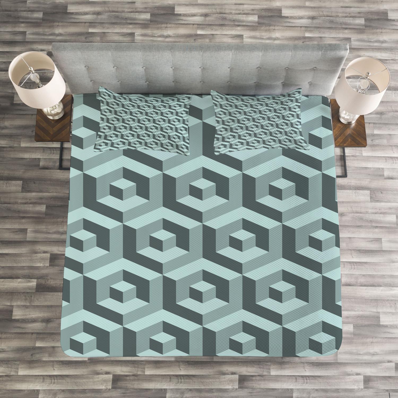 Futuristic Tagesdecke und und und Kissenbezüge Set Maze Digital Cubical Druck c4867d