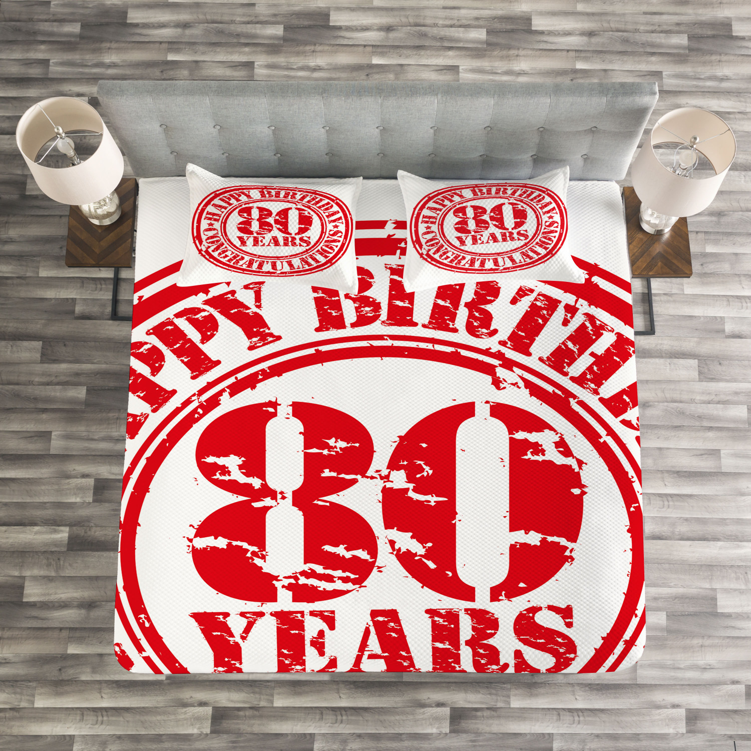 Red White Quilted Bedspread & Pillow Shams Set, Happy Birthday Stamp Print