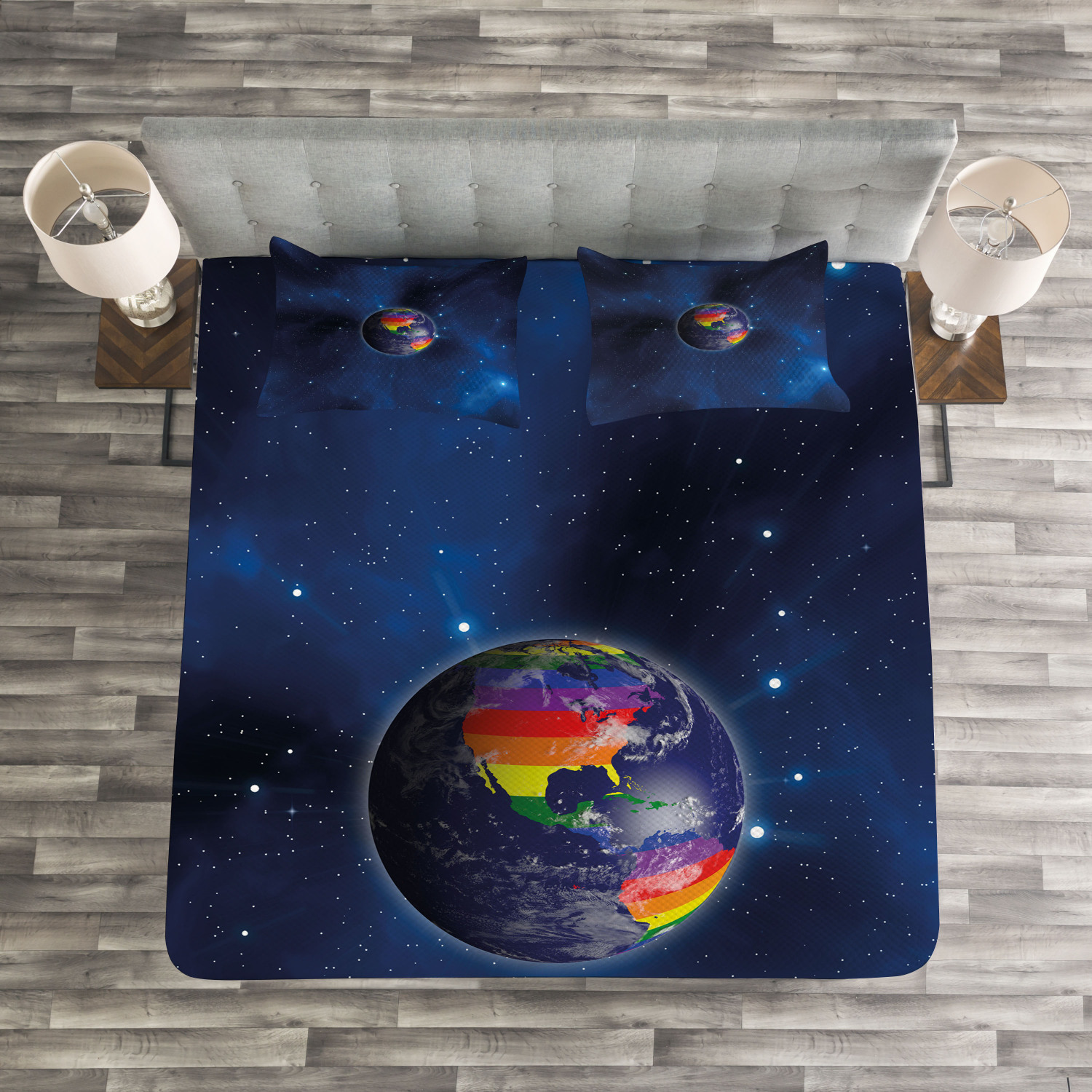 Dark blu Quilted Bedspread & Pillow Shams Set, Earth LGBT Colorees Print
