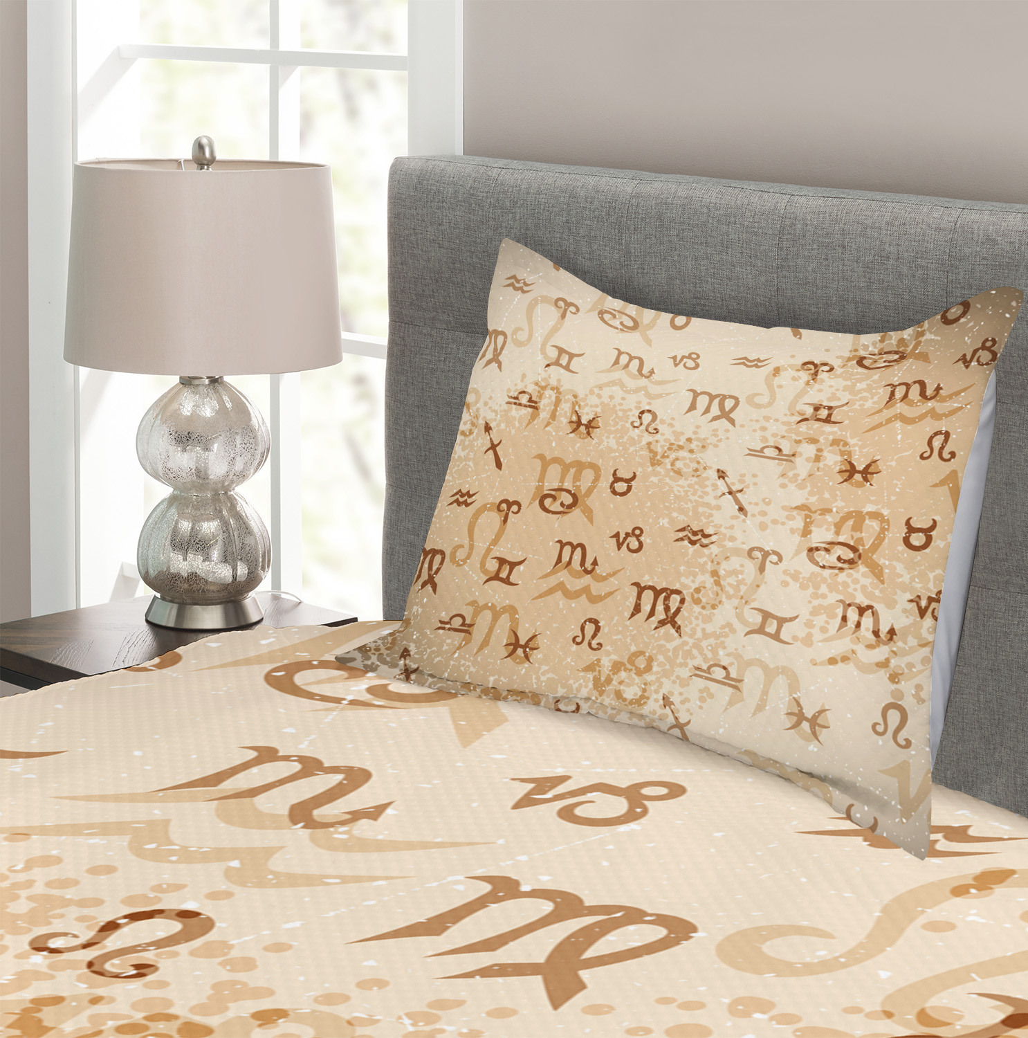 Zodiac Quilted Bedspread /& Pillow Shams Set Astrology Signs Scorpio Print