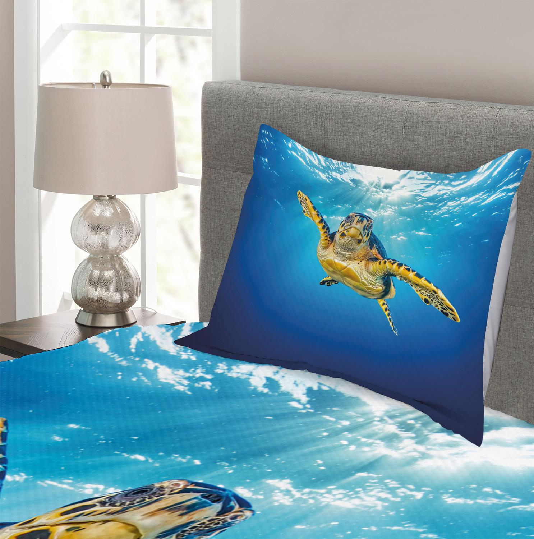 Underwater Quilted Bedspread /& Pillow Shams Set Green Turtle Sunbeam Print