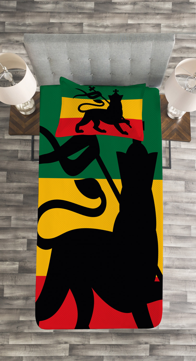 Judah Lion Reggae Flag Print Rasta Quilted Bedspread /& Pillow Shams Set